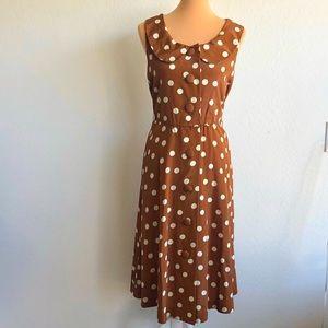 Vintage Brown And White Polka Dot Dress Size 8